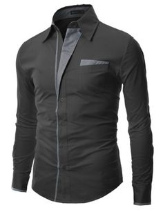 Mens Patch Point SLIM dress shirts CHARCOAL 2XL (DS41) -  DOUBLJU Brand in Korea is a Brand designed by slim fit style FOR men and women in highest qualities and workmanship to bring buyers A different outlook on life of fashion, And mostly styles ar