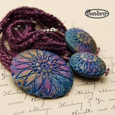 Texture polymer clay focal beads. Beautiful textures and colors by Ivana Brozova.