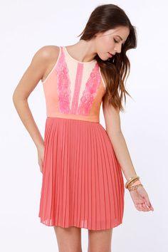 Pretty Coral Dress - Lace Dress - Pleated Dress, lulus - $72.00