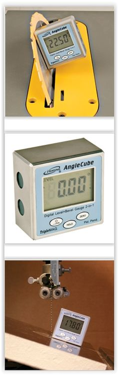 Digital Angle Cube ... 2 in 1 digital level & bevel gauge ... take the guesswork out of setting up those critical bevel cuts on your table saw, jointer, bandsaw or drill press table. Just set the unit on a flat reference surface, press the ZERO button to calibrate the display then attach it to the saw blade, fence, etc. & precisely adjust to the desired angle ............. #DIY #tools #anglecube #digitallevel #bevelgauge #gauge #saw #bandsaw #tablesaw #drillpress #crafts