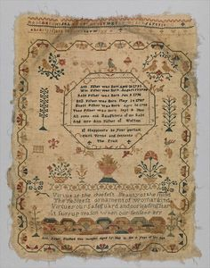 Sampler Date: 1801 Culture: British Medium: Silk on wool canvas Dimensions: H. 16 1/4 x W. 12 1/2 inches (41.3 x 31.8 cm) Classification: Textiles-Embroidered Credit Line: From the Collection of Mrs. Lathrop Colgate Harper, Bequest of Mabel Herbert Harper, 1957