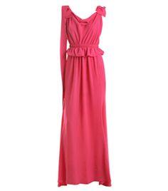 Crepe Silk Long Dress by Nina Ricci. Bright pink full length sleeveless dress with a drape square neckline, ruched top, fitted ruched waistband and frill from under waistband. It also has bows on shoulders a cross over tie back and a bow on back waist and low on skirt. #Matchesfashion