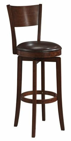 """Hillsdale Archer Swivel 30"""" High Bar Stool by Hillsdale. $179.91. Style Transitional. Color Brown. Brown Finish. Assembled Dimensions 44 in. H x 18 in. D x 18 in. W. Other Dimensions 30 in. - Seat Height. The Archer Hillsdale bar stool features a dark walnut finish and a dark brown faux leather seat. This barstool also includes a 360 degree swivel seat and is decorated with a transitional arched back design. Enhance your home with this handsome barstool design. Grea..."""
