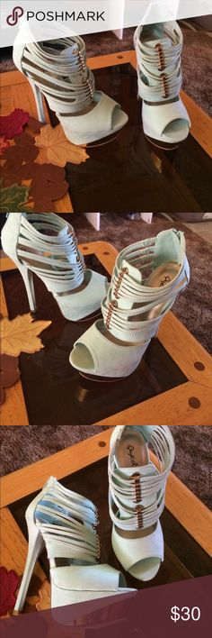 Brand new,never worn mint heels with gold accents Brand new! Size 8 Charlotte Russe Shoes Platforms