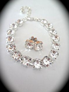 Clear crystal bracelet and stud earrings set  by QueenMeJewelryLLC, $67.99