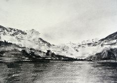 Fjord Norway Noruega Norwegen | charcoal drawing dibujo carbón boceto Skizze Monte montaña mountain ilustración illustration print Impresión   · For Living Room · Home decor · Wall decor  By Ilona Koczwara