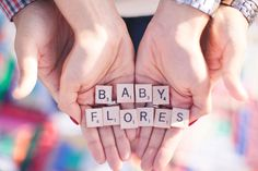Pregnancy Announcement with scrabble tiles. Photography by: Lou Lee Photography