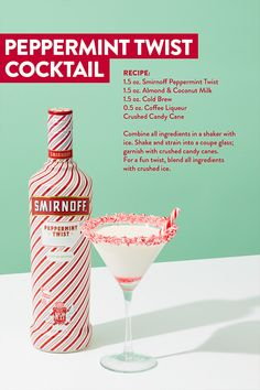 Twist up your holiday parties this year with the Smirnoff Peppermint Twist Cocktail. Coffee Liqueur Crushed Candy Cane Combine all ingredients in a shaker Drinks Alcohol Recipes, Yummy Drinks, Cocktail Recipes, Candy Cane Cocktail Recipe, Non Alcoholic Christmas Drinks, Holiday Alcoholic Drinks, Eggnog Cocktail, Mixed Drinks Alcohol, Alcoholic Beverages