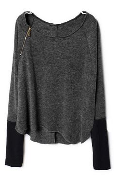 Dark Grey Zippered Curved Hem Sweater