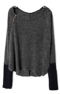 Dark Grey Zippered Curved Hem Jumper #SheInside