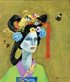 (Korea) Korean Beauty by Chun Kyung-Ja 1924~2015. Korea. Oil on canvas.