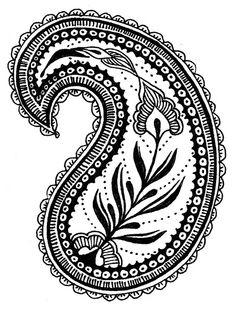 Motif Paisley, Paisley Embroidery, Paisley Art, Paisley Design, Paisley Pattern, Embroidery Designs, Paisley Drawing, Zentangle Patterns, Linocut Prints