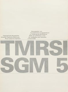 TM RSI SGM 1960–90/ Cover from 1963 issue 5/ Cover Design Felix Berman/ Typeface Univers