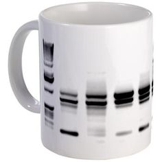 DNA Gel B/W Mug - ok I've seriously thought of printing off a huge canvas of a really good gel and using it as art. I'd definitely take it in mug form!