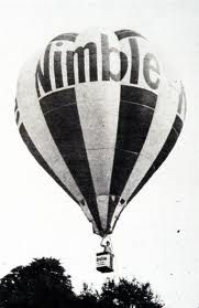 Nimble.....believe it or not was a bread, who's qualities was that it was  light bread, hence the hot air balloon......and if you were on a diet, it was the bread to eat!
