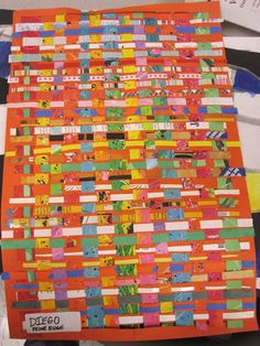 4 TH Grade Tiny Weaving: Started with a white piece of 80# paper (12X18)...students created an abstract painting on it. Splatter, smearing...