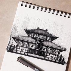 """170 Likes, 4 Comments - Allyssa Janelle Sy (@allyssajanelle) on Instagram: """"Tōdai-ji Temple Sketch """""""