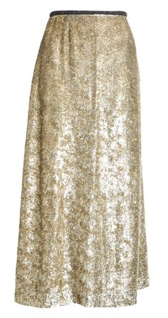Amp up the street-style look with this dazzling metallic midi skirt with gleaming silk fabric.