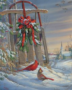 Springbok Puzzles - Winter Red Birds - 1000 Piece Jigsaw Puzzle - Large 30 Inches By 24 Inches Puzzle - Made In Usa - Unique Cut Interlocking Pieces Dollar Store Christmas, Diy Christmas Ornaments, Christmas Balls, Christmas Countdown, Christmas Art, Christmas Wreaths, Christmas Decorations, Winter Christmas Scenes, Christmas Blessings