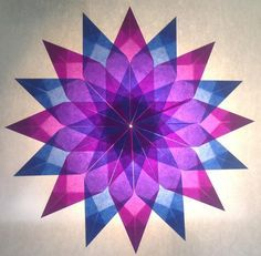 Blue / Purple Star - 16 points - stars made of tracing paper Star crafts . - Blue / Purple Star – 16 points – stars made of tracing paper Star crafts … - Stars Craft, Diy Fan, Ideias Diy, Origami Animals, Paper Stars, Origami Tutorial, Paper Folding, Origami Paper, Christmas Diy