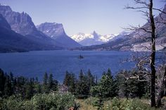 Yellowstone National Park - St Mary Lake with Wildgoose Island in the center, Glacier National Park; Photographer unknown; 1967