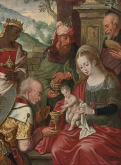Circle of Pieter Aertsen ADORATION OF THE MAGI oil on panel 15 1/8  by 11 1/8  in.; 38.4 by 28.3 cm.