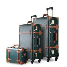 """3PCS/SET Vintage Travel Luggage,12"""" tote & 20"""" 26"""" Retro Trolley Suitcases With Spinner Wheel & Combination Lock"""
