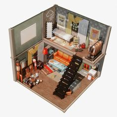 Sims 4 House Plans, Sims 4 House Building, Sims 4 Loft, Sims 4 House Design, Sims 4 Bedroom, Casas The Sims 4, Sims 4 Build, Sims 4 Game, Sims 4 Cc Finds