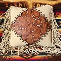 "Items similar to Western leather pillow 16 X 16 home decor vintage style ivory amber tooled leather ""cowboy boot"" design rockabilly STARGAZER MERCANTILE on Etsy Western Theme, Western Decor, Western Art, Rustic Decor, Western Style, Western Crafts, Southwestern Home Decor, Southwest Style, Leather Pillow"