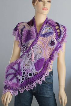 Lilac Violet Freeform Crochet Scarf Shawl / by levintovich Freeform Crochet, Crochet Shawl, Crochet Stitches, Knit Crochet, Crochet Patterns, Tapestry Crochet, Unique Crochet, Love Crochet, Beautiful Crochet
