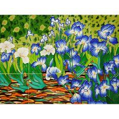 Van Gogh 'Irises' Mural Wall Tiles | Overstock.com