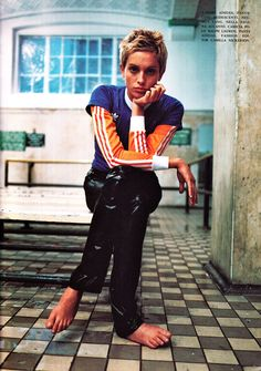 "Amber Valletta in ""Ginnico"", photographed by Steven Meisel for Vogue Italia, January 1994 Grunge Fashion, 90s Fashion, High Fashion, Fashion Outfits, Mario Sorrenti, Ellen Von Unwerth, Paolo Roversi, Steven Meisel, Tim Walker"