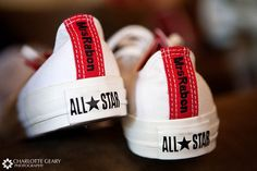 Converse sneakers embroidered with the bride cute for the reception Converse Wedding Shoes, Wedding Sneakers, Groom Shoes, Custom Converse, Friend Wedding, Our Wedding, Dream Wedding, Wedding Reception, Wedding Stuff