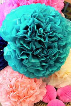 Teal Tissue Pom Pom | The Little Things