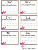free printable who,when, where game cards for bridal shower
