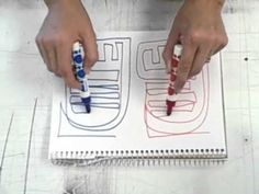 Jackson Pollack lime lines method?) Creative Warm Up Activity. Two pens. 3 ways. Connecting left and right brain for top notch creativity. Drawing Projects, Drawing Lessons, Art Lessons, Art Projects, School Lessons, Drawing Tips, Middle School Art, Art School, Expressive Art