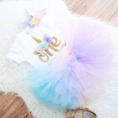 Unicorn First Birthday Outfit, extra fluffy unicorn tutu for first birthday 100% nylon, Unicorn party theme, unicorn baby dress, Unicorn set