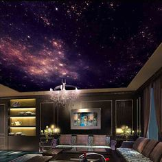 3D Star Nebula Night Sky Large Suspended Ceiling Painted Wall TV Backdrop Wallpaper Bedroom Wallpaper Theme Room Mural