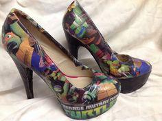 Teenage Mutant Ninja Turtle heels by ShoebeedooBoutique on Etsy, $60.00