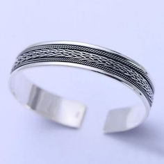 Sterling Silver Braided Pattern Cuff Bracelet