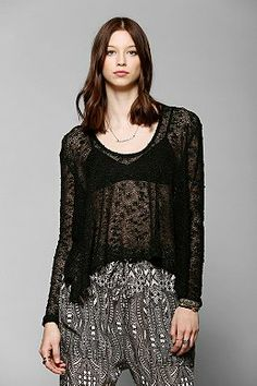 Ecote Textured Semi-Sheer High/Low Sweater