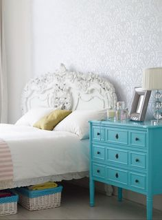 Loving painted furniture.  Thinking of painting my old 4 poster bed for Abby's room....dark turquoise.