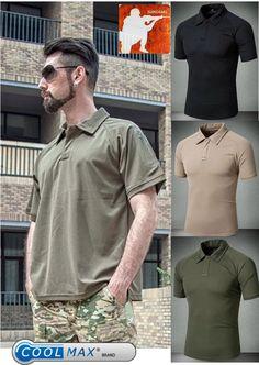 42c8211c8daa MEN URBAN TACTICAL Polo Shirt Coolmax Quick Dry Top Special Forces SWAT  COPS FBI