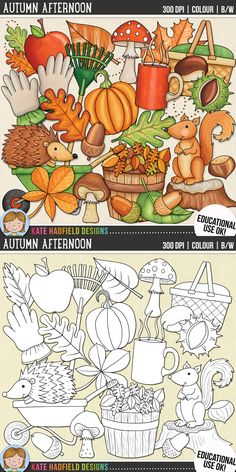 Autumn Afternoon - fall digital scrapbook elements and cute autumn leaves clip art pack! Clip art and line art bundle. Hand-drawn illustrations for digital scrapbooking, crafting and teaching resources from Kate Hadfield Designs. Digital Stamps, Digital Scrapbooking, Autumn Doodles, Fall Clip Art, Sand Crafts, Printable Crafts, Printables, Clipart Black And White, Autumn Fall