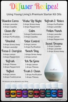 Diffuser Recipes! All from the Young Living Premium Starter Kit. | The Blooming Carrot