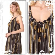 """FREE PEOPLE UNEARTHED MAXI DRESS $168 SMALL Gauzy cotton shapeless striped maxi dress with bead and tassel embellishment around the front of the neckline. Ties at the upper back. Lightly frayed edges around the neckline, armholes and bottom hem. Lined. *100% Cotton  *Hand Wash Cold  *Import Measurements for Small: Length (from top of strap): 55 1/2""""  Bust (all around): 36""""  Armhole Drop: 9"""" Free People Dresses Maxi"""