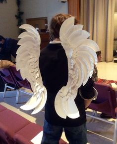 Paper plate and staple Arch Angel wings