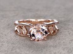 Morganite Engagement ring,Rose/Yellow/White Gold.Every Jewelry in my store needs making to order.Matching band can be made for the gemstone ring. If you have the stone,you can ask me custom make the ring setting.  ------ Item details: Solid 14K Gold(Gold color can be made in white/yellow/rose)  Size 5#(Ring can be resized)  Band width approx 1.4mm  8mm Round Cut 1.8ctw VS Morganite  0.06ct Round Cut SI/H Natural Conflict Free Diamonds.  Prong,Pave Set  Market Retail Price: $2200…