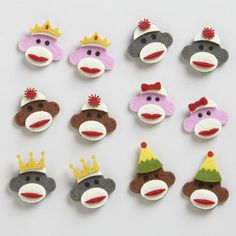One of my favorite discoveries at WorldMarket.com: Felt Sock Monkey Stickers, Set of 12