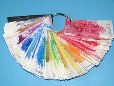 Brusho Colour Crystal Color Tags - a look at each color on cardstock & watercolor papers.
